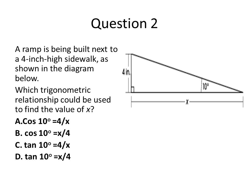 Question 2 A ramp is being built next to a 4-inch-high sidewalk, as shown in the diagram below. Which trigonometric relationship could be used to find