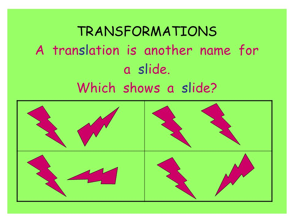 TRANSFORMATIONS A translation is another name for a slide. Which shows a slide?