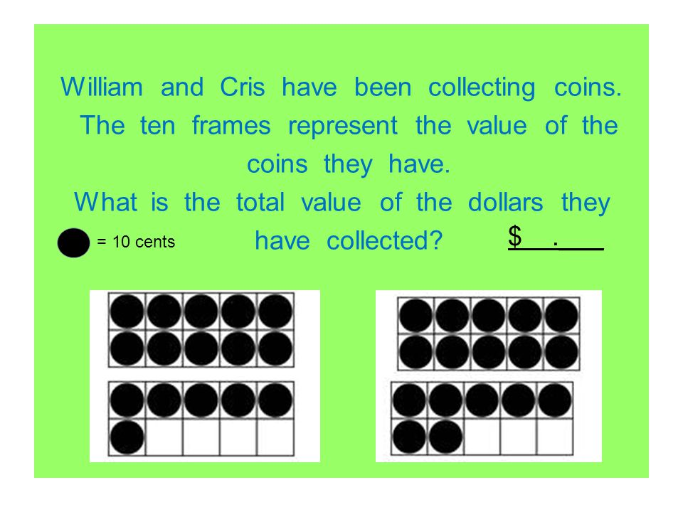 William and Cris have been collecting coins. The ten frames represent the value of the coins they have. What is the total value of the dollars they ha