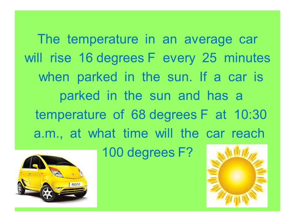 The temperature in an average car will rise 16 degrees F every 25 minutes when parked in the sun. If a car is parked in the sun and has a temperature