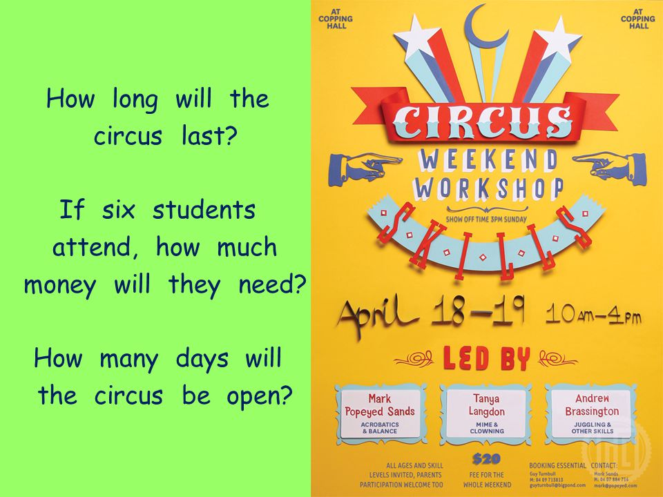 How long will the circus last? If six students attend, how much money will they need? How many days will the circus be open?