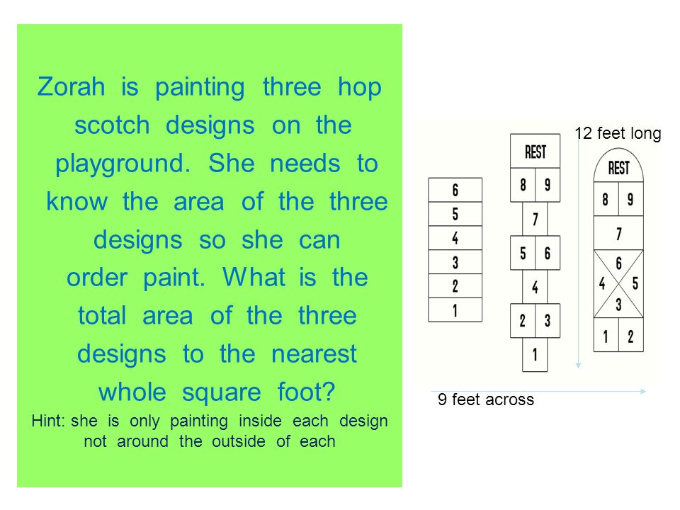 Zorah is painting three hop scotch designs on the playground. She needs to know the area of the three designs so she can order paint. What is the tota