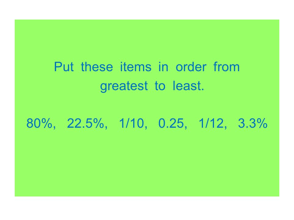 Put these items in order from greatest to least. 80%, 22.5%, 1/10, 0.25, 1/12, 3.3%