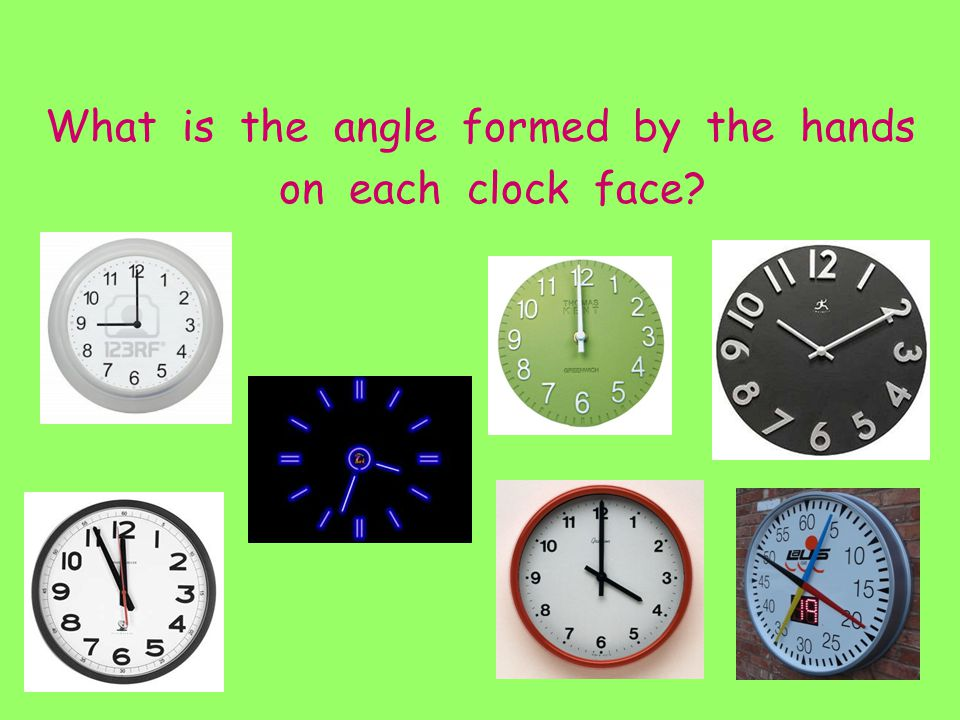 What is the angle formed by the hands on each clock face?