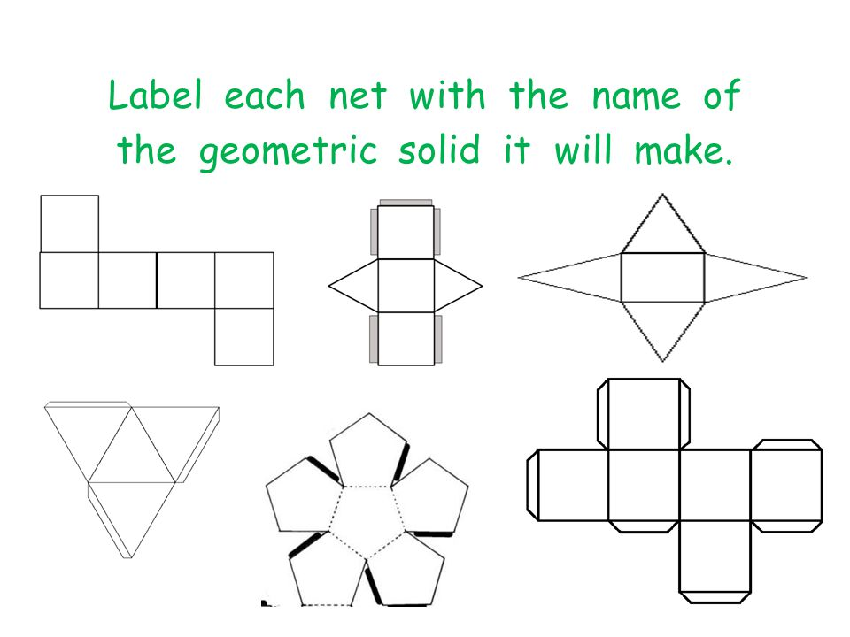Label each net with the name of the geometric solid it will make.