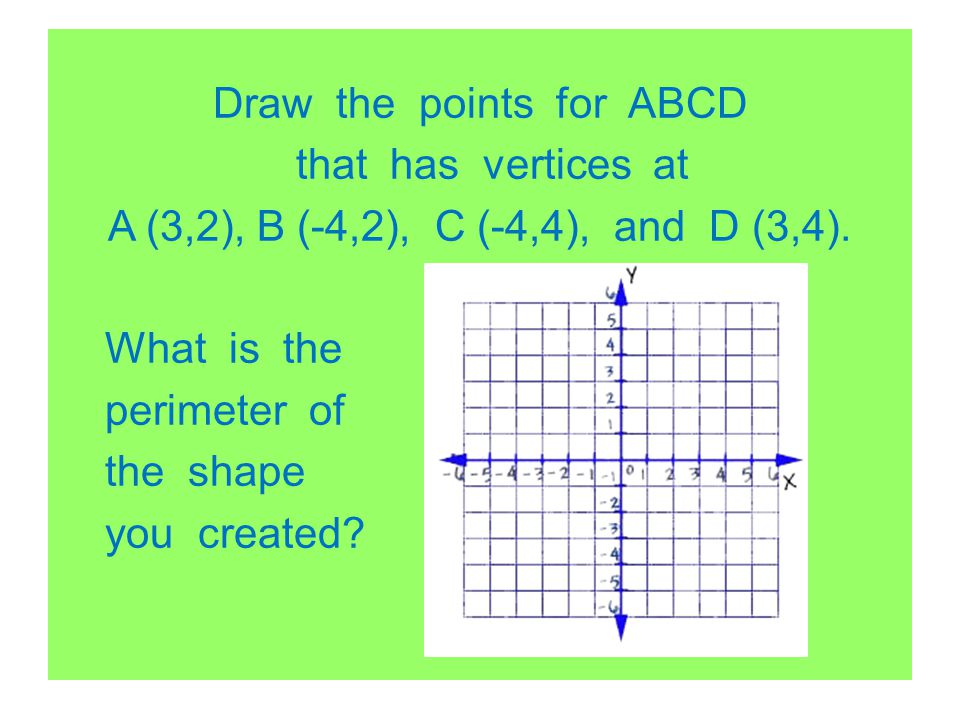 Draw the points for ABCD that has vertices at A (3,2), B (-4,2), C (-4,4), and D (3,4). What is the perimeter of the shape you created?