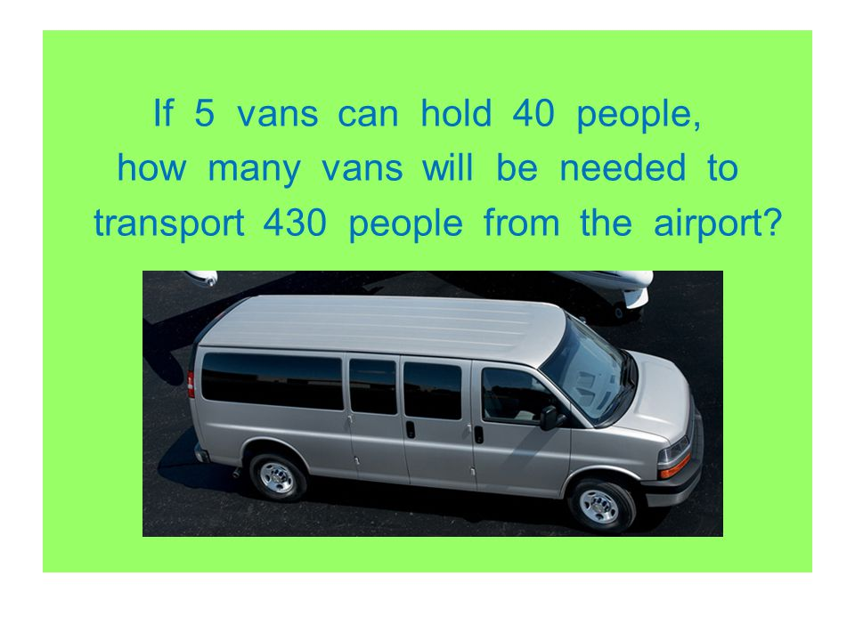 If 5 vans can hold 40 people, how many vans will be needed to transport 430 people from the airport?