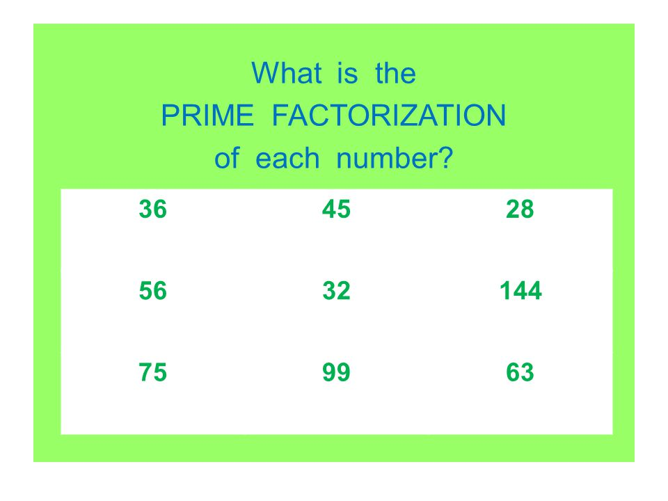 What is the PRIME FACTORIZATION of each number? 364528 5632144 759963