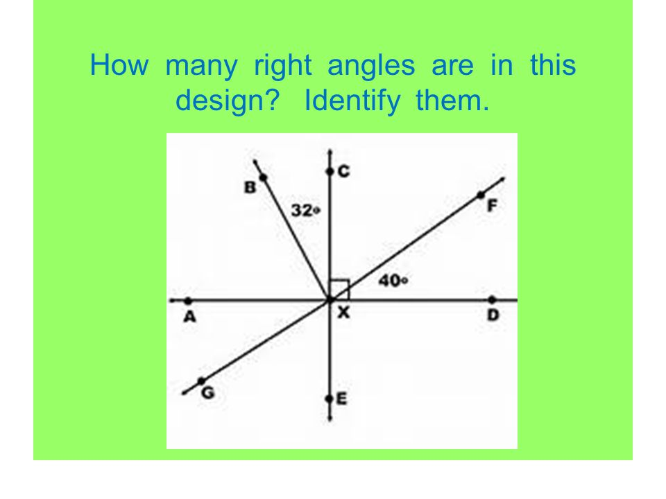How many right angles are in this design? Identify them.
