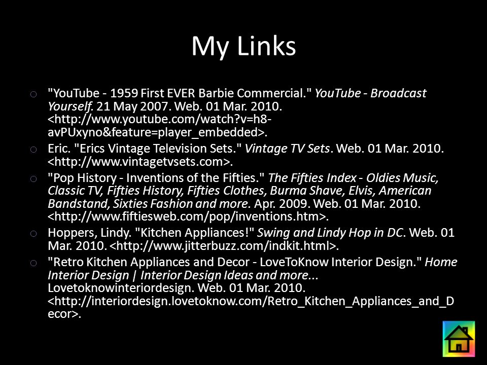 My Links o YouTube - 1959 First EVER Barbie Commercial. YouTube - Broadcast Yourself.