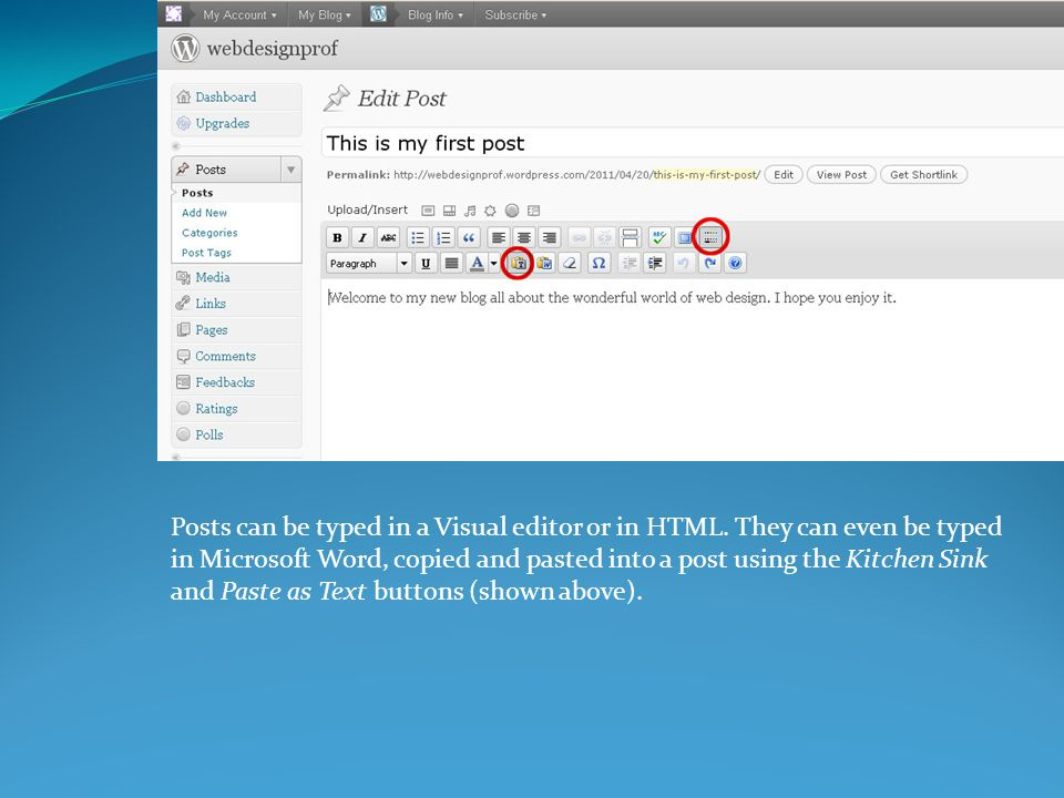 Posts can be typed in a Visual editor or in HTML.