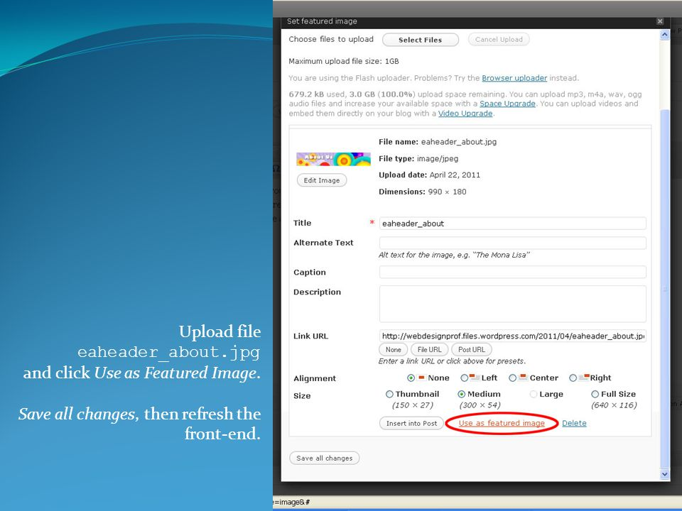 Upload file eaheader_about.jpg and click Use as Featured Image.