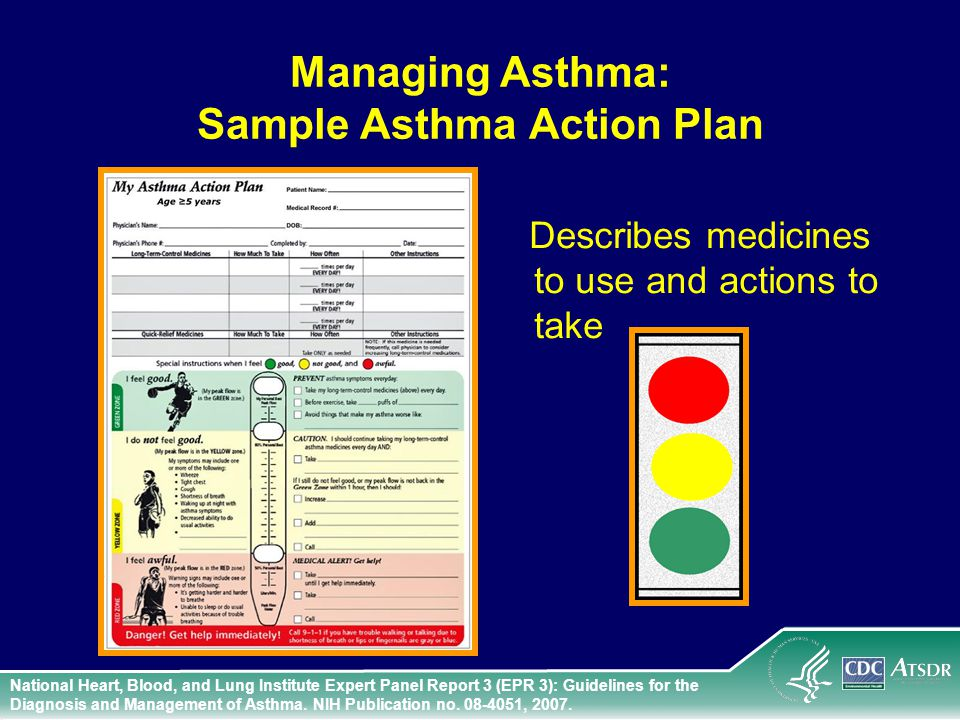Managing Asthma: Sample Asthma Action Plan Describes medicines to use and actions to take National Heart, Blood, and Lung Institute Expert Panel Report 3 (EPR 3): Guidelines for the Diagnosis and Management of Asthma.