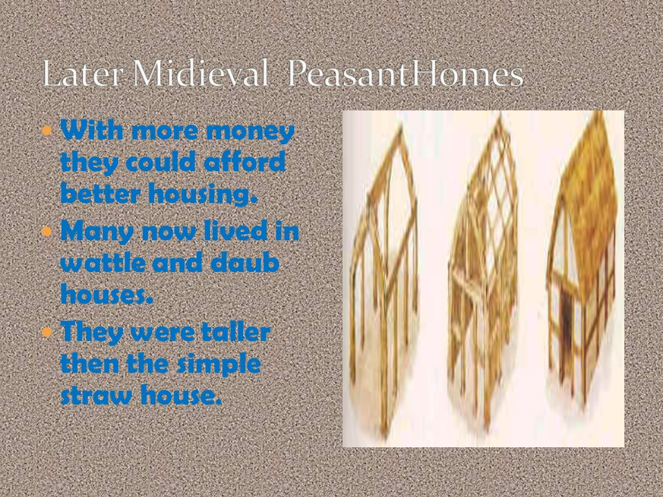 With more money they could afford better housing. Many now lived in wattle and daub houses.
