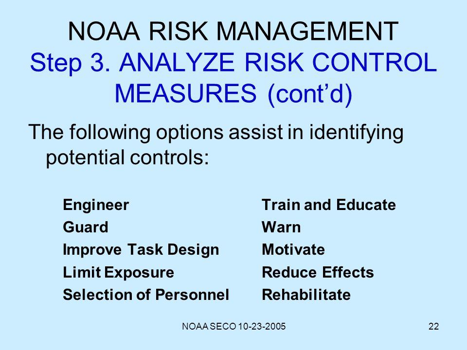 NOAA SECO 10-23-200522 NOAA RISK MANAGEMENT Step 3. ANALYZE RISK CONTROL MEASURES (contd) The following options assist in identifying potential contro