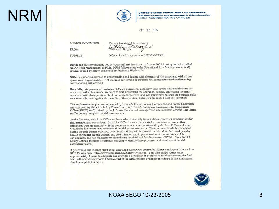 NOAA SECO 10-23-20053 NRM