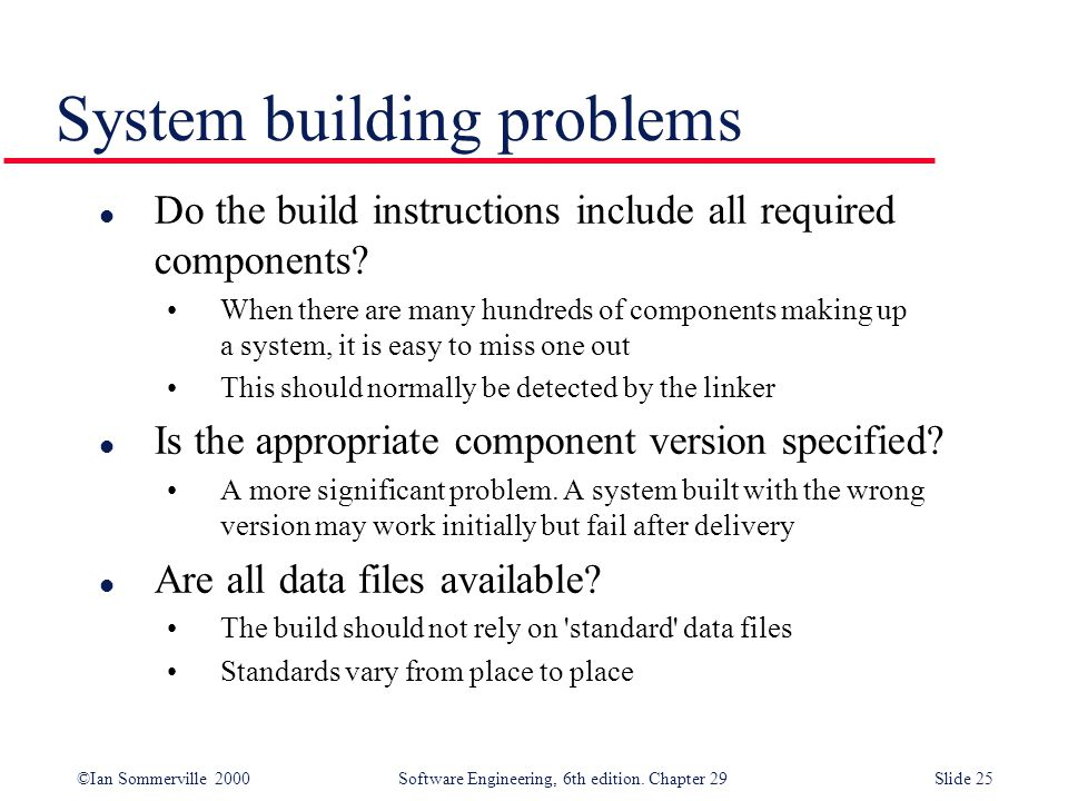 ©Ian Sommerville 2000Software Engineering, 6th edition. Chapter 29Slide 25 l Do the build instructions include all required components? When there are