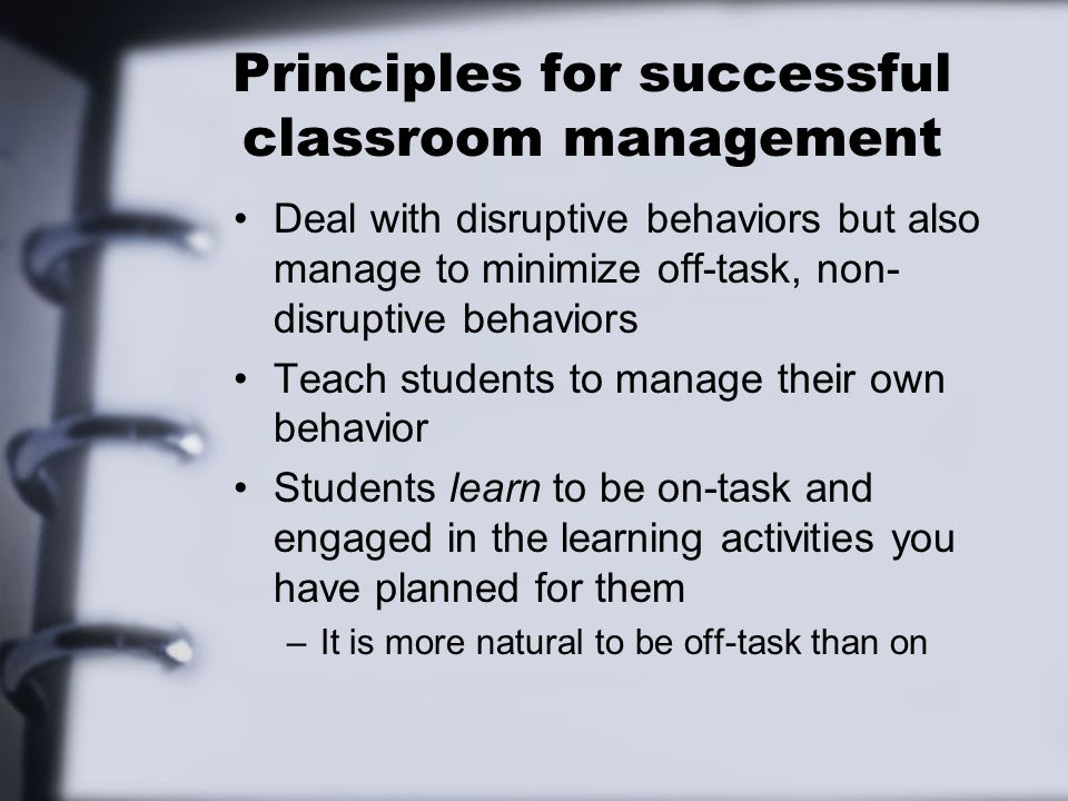 Techniques for Better Classroom Control Focus attention on entire class Dont talk over student chatter Silence can be effective Use softer voice so students really have to listen to what youre saying Direct your instruction so that students know what is going to happen