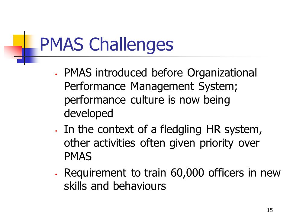 PMAS Challenges PMAS introduced before Organizational Performance Management System; performance culture is now being developed In the context of a fledgling HR system, other activities often given priority over PMAS Requirement to train 60,000 officers in new skills and behaviours 15