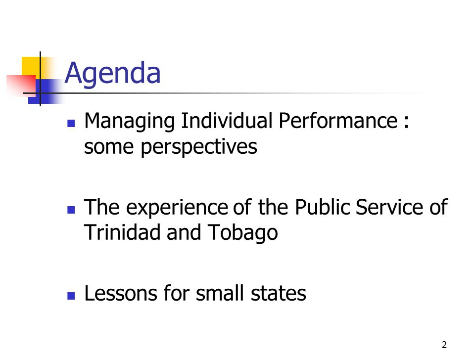 Agenda Managing Individual Performance : some perspectives The experience of the Public Service of Trinidad and Tobago Lessons for small states 2