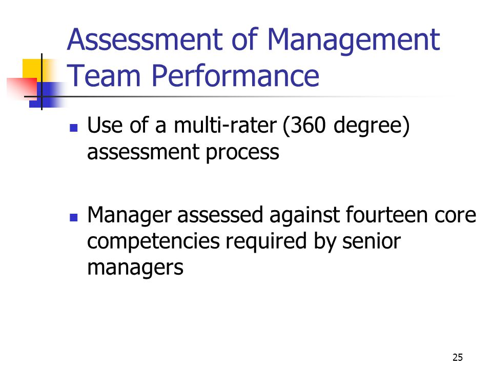 Assessment of Management Team Performance Use of a multi-rater (360 degree) assessment process Manager assessed against fourteen core competencies required by senior managers 25