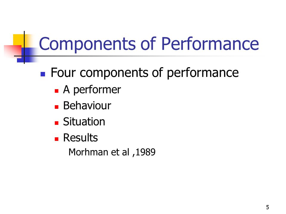 Components of Performance Four components of performance A performer Behaviour Situation Results Morhman et al,1989 5