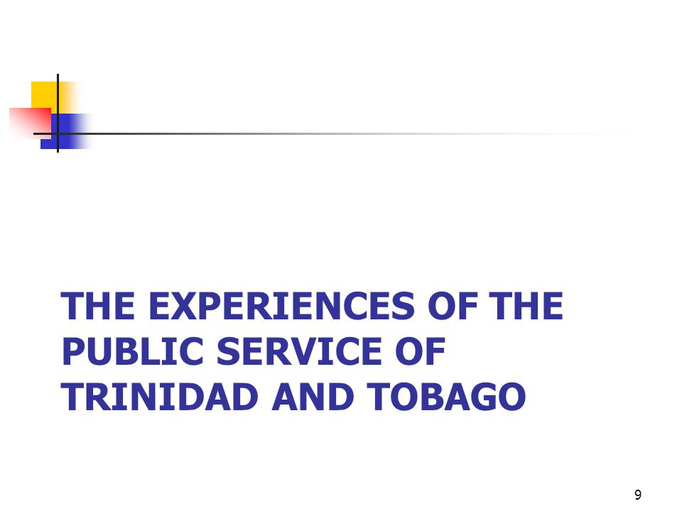 THE EXPERIENCES OF THE PUBLIC SERVICE OF TRINIDAD AND TOBAGO 9