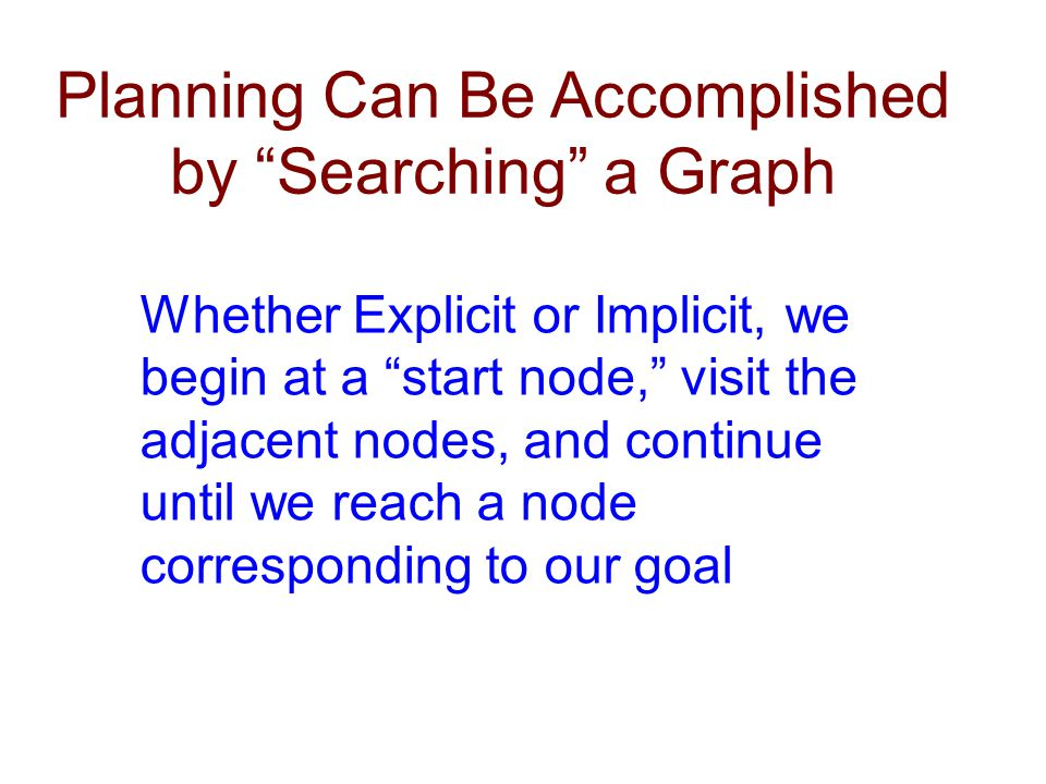 Planning Can Be Accomplished by Searching a Graph Whether Explicit or Implicit, we begin at a start node, visit the adjacent nodes, and continue until we reach a node corresponding to our goal