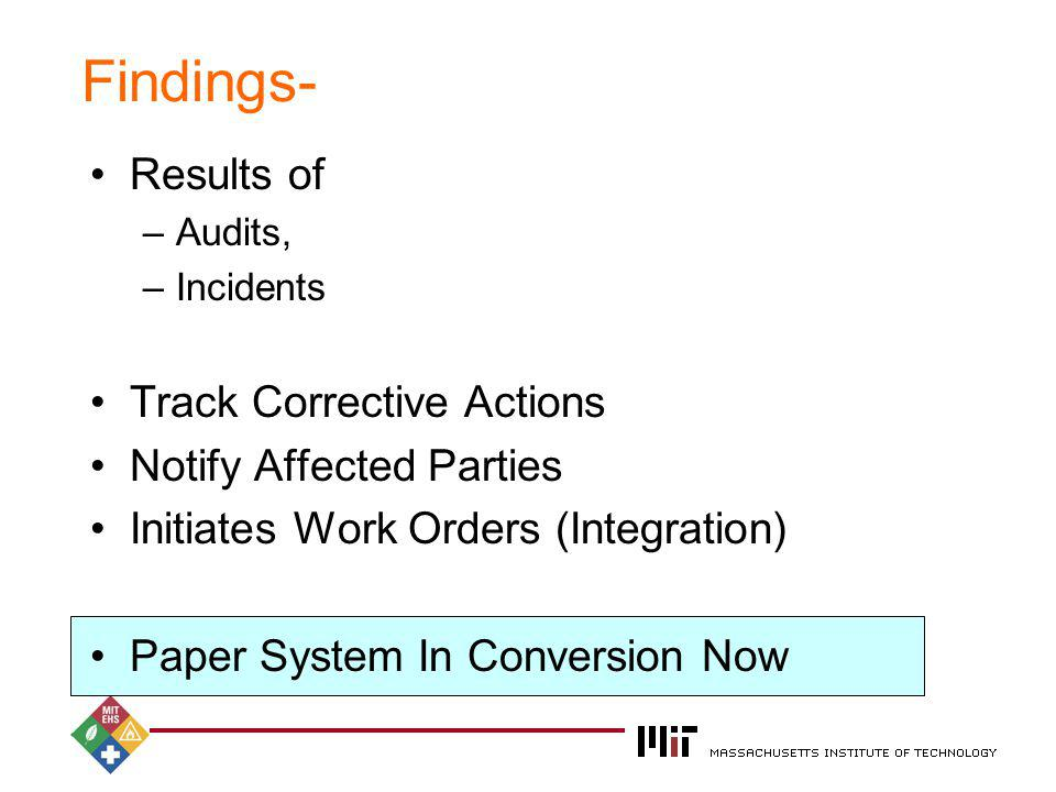 2004 Findings- Results of –Audits, –Incidents Track Corrective Actions Notify Affected Parties Initiates Work Orders (Integration) Paper System In Con