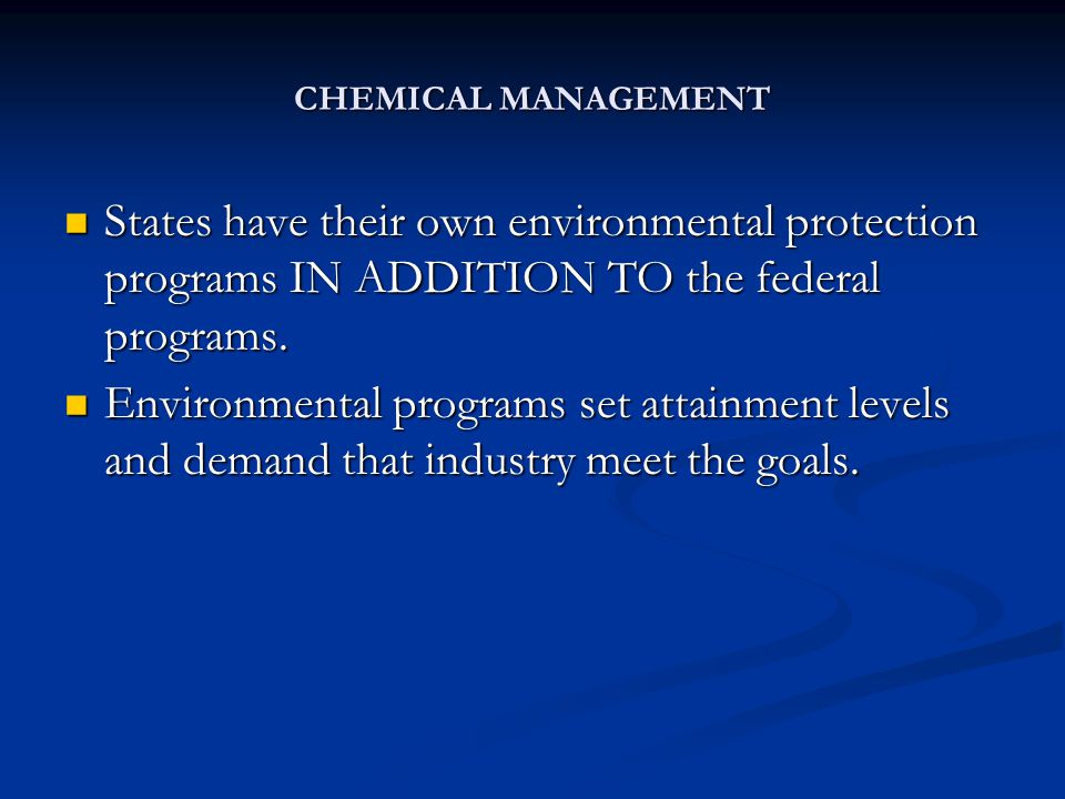 CHEMICAL MANAGEMENT Clean Air Act controls emissions to the atmosphere from stationary (plants, stacks, terminals, etc.) and non-stationary (cars, trucks, buses, etc.) sources.