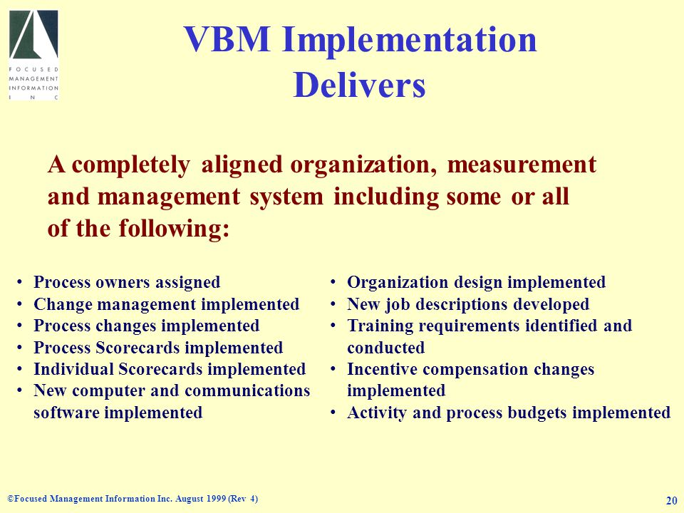 ©Focused Management Information Inc. August 1999 (Rev 4) 20 VBM Implementation Delivers Process owners assigned Change management implemented Process