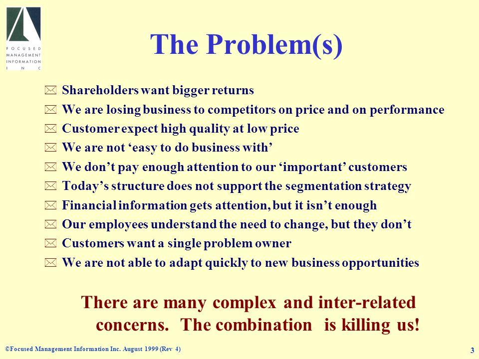©Focused Management Information Inc.August 1999 (Rev 4) 4 Why VBM.
