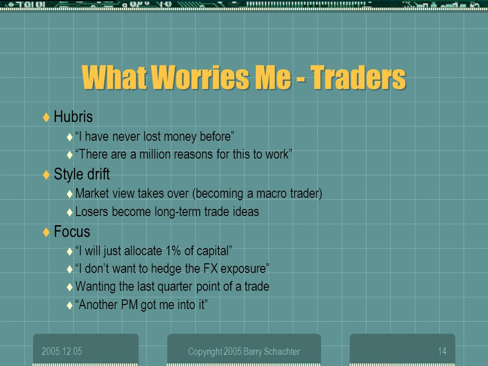 2005.12.05Copyright 2005 Barry Schachter14 What Worries Me - Traders Hubris I have never lost money before There are a million reasons for this to wor