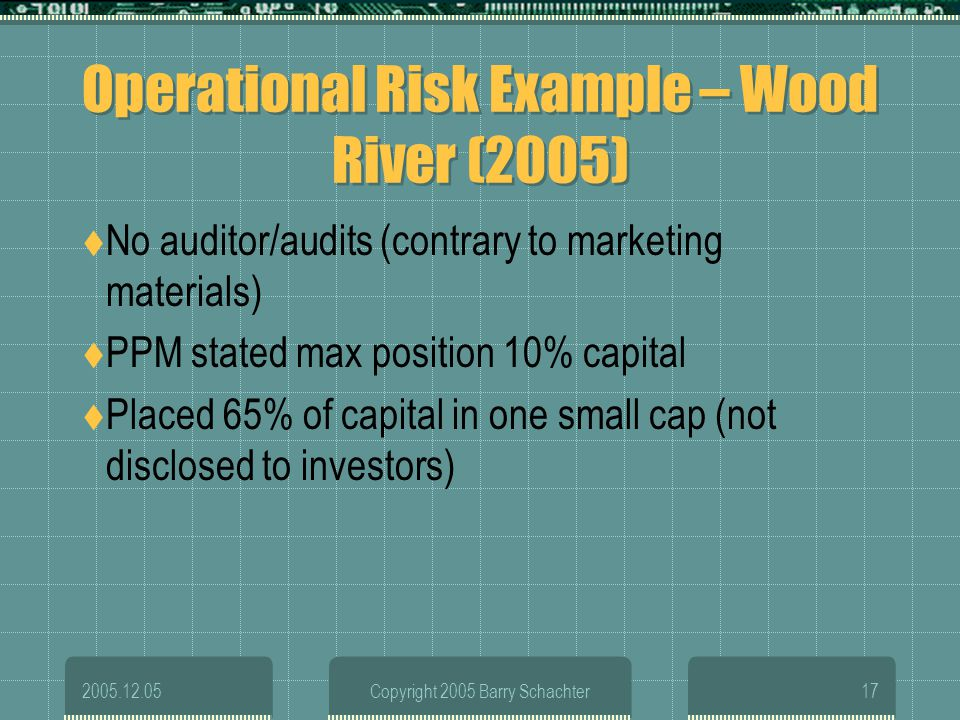 2005.12.05Copyright 2005 Barry Schachter17 Operational Risk Example – Wood River (2005) No auditor/audits (contrary to marketing materials) PPM stated