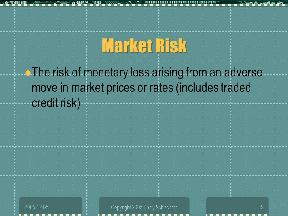 2005.12.05Copyright 2005 Barry Schachter9 Market Risk The risk of monetary loss arising from an adverse move in market prices or rates (includes trade