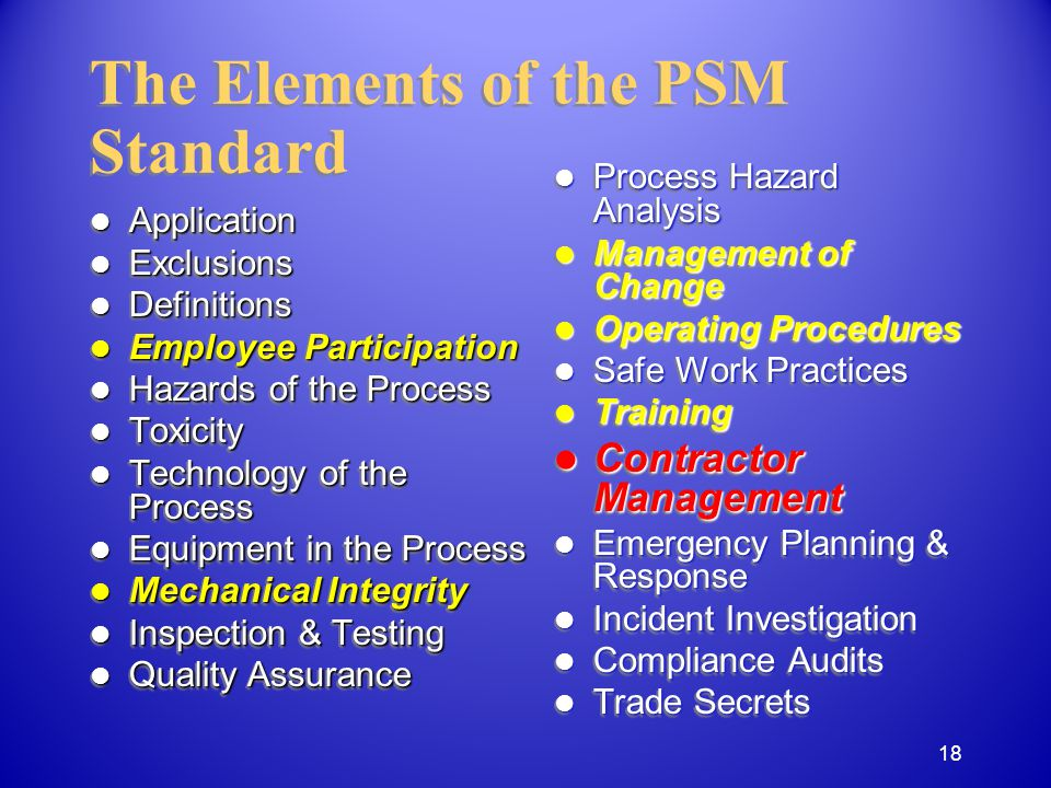 Application Application Exclusions Exclusions Definitions Definitions Employee Participation Employee Participation Hazards of the Process Hazards of the Process Toxicity Toxicity Technology of the Process Technology of the Process Equipment in the Process Equipment in the Process Mechanical Integrity Mechanical Integrity Inspection & Testing Inspection & Testing Quality Assurance Quality Assurance Application Application Exclusions Exclusions Definitions Definitions Employee Participation Employee Participation Hazards of the Process Hazards of the Process Toxicity Toxicity Technology of the Process Technology of the Process Equipment in the Process Equipment in the Process Mechanical Integrity Mechanical Integrity Inspection & Testing Inspection & Testing Quality Assurance Quality Assurance The Elements of the PSM Standard Process Hazard Analysis Process Hazard Analysis Management of Change Management of Change Operating Procedures Operating Procedures Safe Work Practices Safe Work Practices Training Training Contractor Management Contractor Management Emergency Planning & Response Emergency Planning & Response Incident Investigation Incident Investigation Compliance Audits Compliance Audits Trade Secrets Trade Secrets 18