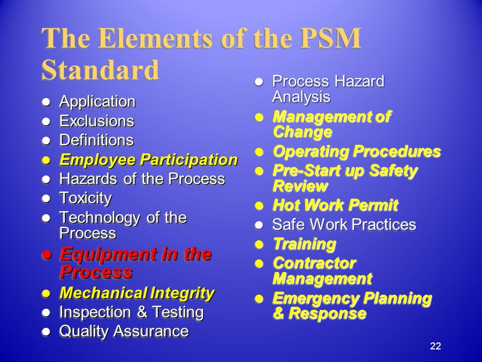 Application Application Exclusions Exclusions Definitions Definitions Employee Participation Employee Participation Hazards of the Process Hazards of the Process Toxicity Toxicity Technology of the Process Technology of the Process Equipment in the Process Equipment in the Process Mechanical Integrity Mechanical Integrity Inspection & Testing Inspection & Testing Quality Assurance Quality Assurance Application Application Exclusions Exclusions Definitions Definitions Employee Participation Employee Participation Hazards of the Process Hazards of the Process Toxicity Toxicity Technology of the Process Technology of the Process Equipment in the Process Equipment in the Process Mechanical Integrity Mechanical Integrity Inspection & Testing Inspection & Testing Quality Assurance Quality Assurance The Elements of the PSM Standard Process Hazard Analysis Process Hazard Analysis Management of Change Management of Change Operating Procedures Operating Procedures Pre-Start up Safety Review Pre-Start up Safety Review Hot Work Permit Hot Work Permit Safe Work Practices Safe Work Practices Training Training Contractor Management Contractor Management Emergency Planning & Response Emergency Planning & Response 22