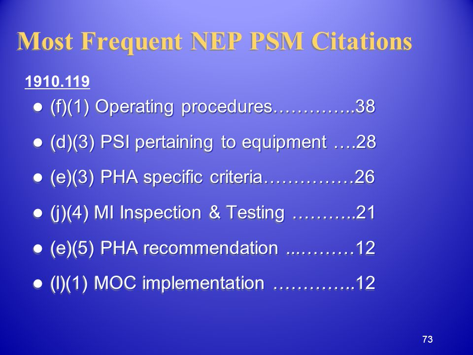 Most Frequent NEP PSM Citations (f)(1) Operating procedures…………..38 (f)(1) Operating procedures…………..38 (d)(3) PSI pertaining to equipment ….28 (d)(3) PSI pertaining to equipment ….28 (e)(3) PHA specific criteria……………26 (e)(3) PHA specific criteria……………26 (j)(4) MI Inspection & Testing ………..21 (j)(4) MI Inspection & Testing ………..21 (e)(5) PHA recommendation...………12 (e)(5) PHA recommendation...………12 (l)(1) MOC implementation …………..12 (l)(1) MOC implementation …………..12 (f)(1) Operating procedures…………..38 (f)(1) Operating procedures…………..38 (d)(3) PSI pertaining to equipment ….28 (d)(3) PSI pertaining to equipment ….28 (e)(3) PHA specific criteria……………26 (e)(3) PHA specific criteria……………26 (j)(4) MI Inspection & Testing ………..21 (j)(4) MI Inspection & Testing ………..21 (e)(5) PHA recommendation...………12 (e)(5) PHA recommendation...………12 (l)(1) MOC implementation …………..12 (l)(1) MOC implementation …………..12 1910.119 73