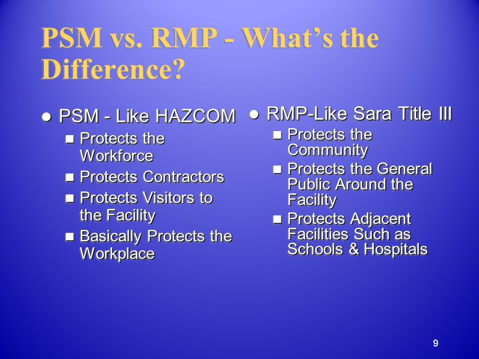Contractors Contractors involved in or around a covered process must be informed of required PSM elements.