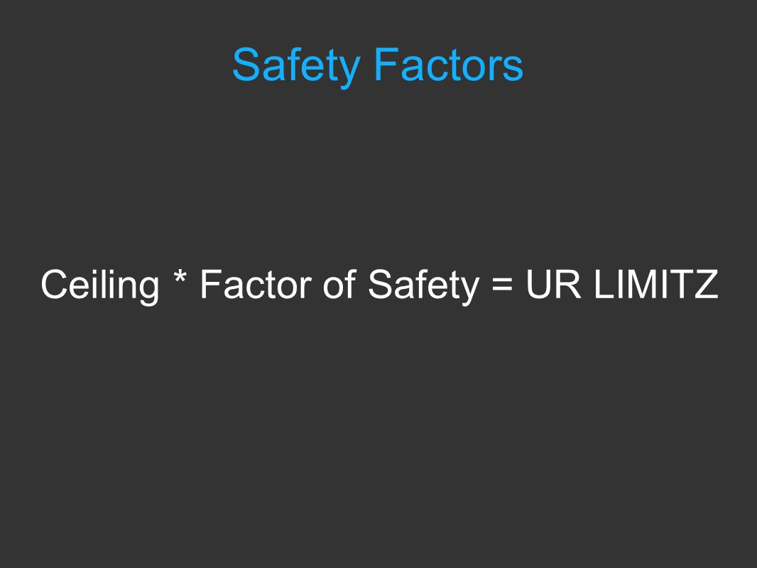 Ceiling * Factor of Safety = UR LIMITZ