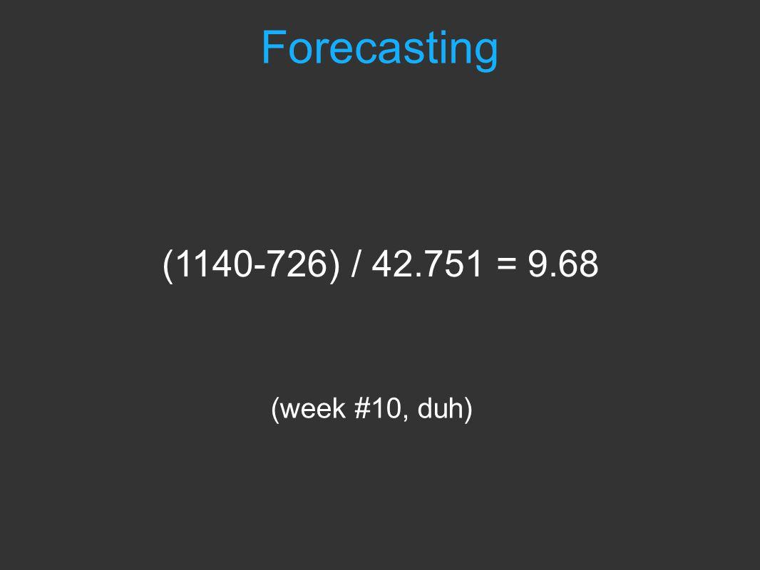 Forecasting (week #10, duh) (1140-726) / 42.751 = 9.68