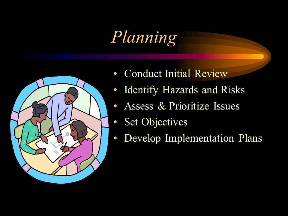 Planning Conduct Initial Review Identify Hazards and Risks Assess & Prioritize Issues Set Objectives Develop Implementation Plans