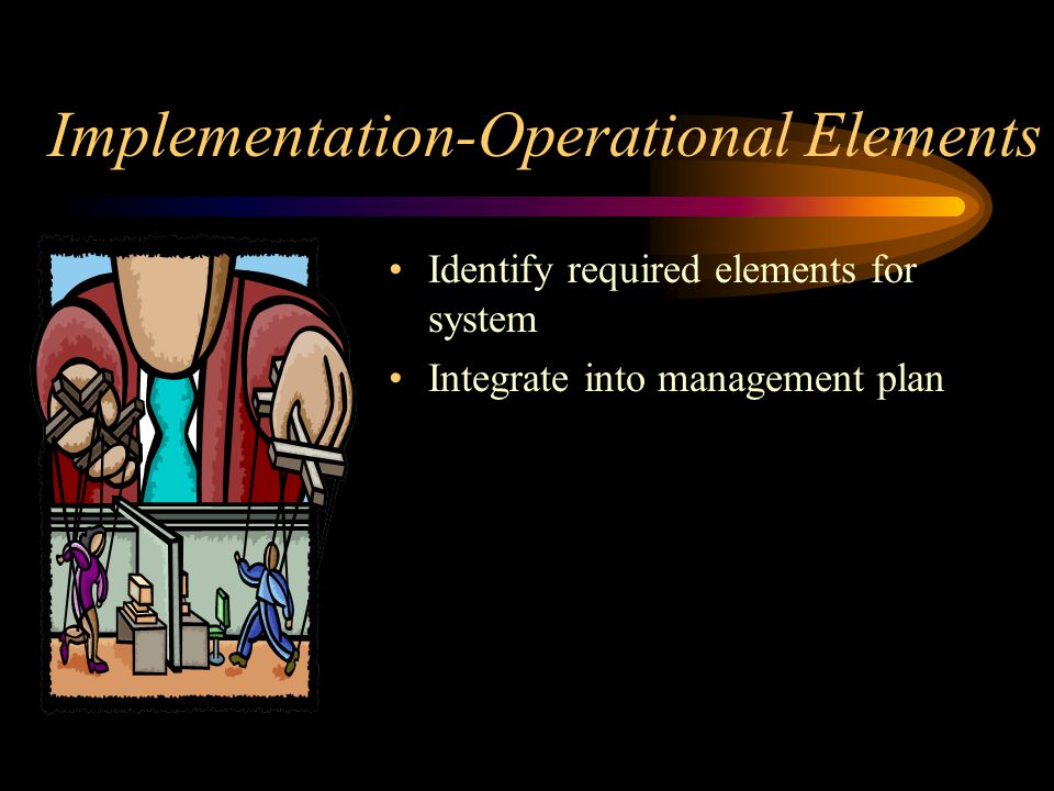 Implementation-Operational Elements Identify required elements for system Integrate into management plan