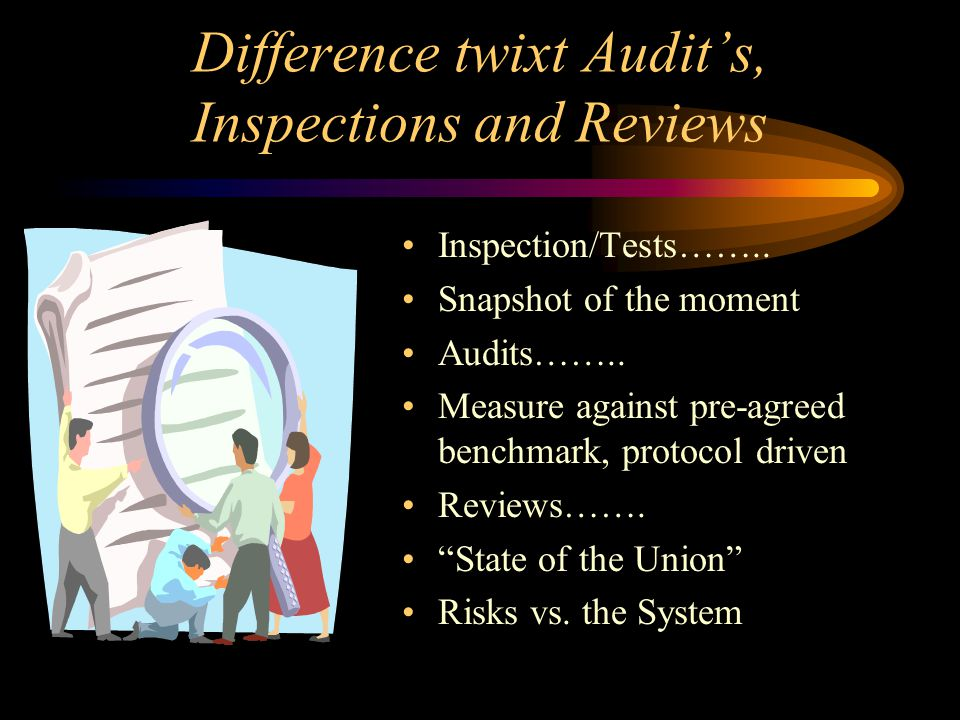 Difference twixt Audits, Inspections and Reviews Inspection/Tests…….. Snapshot of the moment Audits…….. Measure against pre-agreed benchmark, protocol