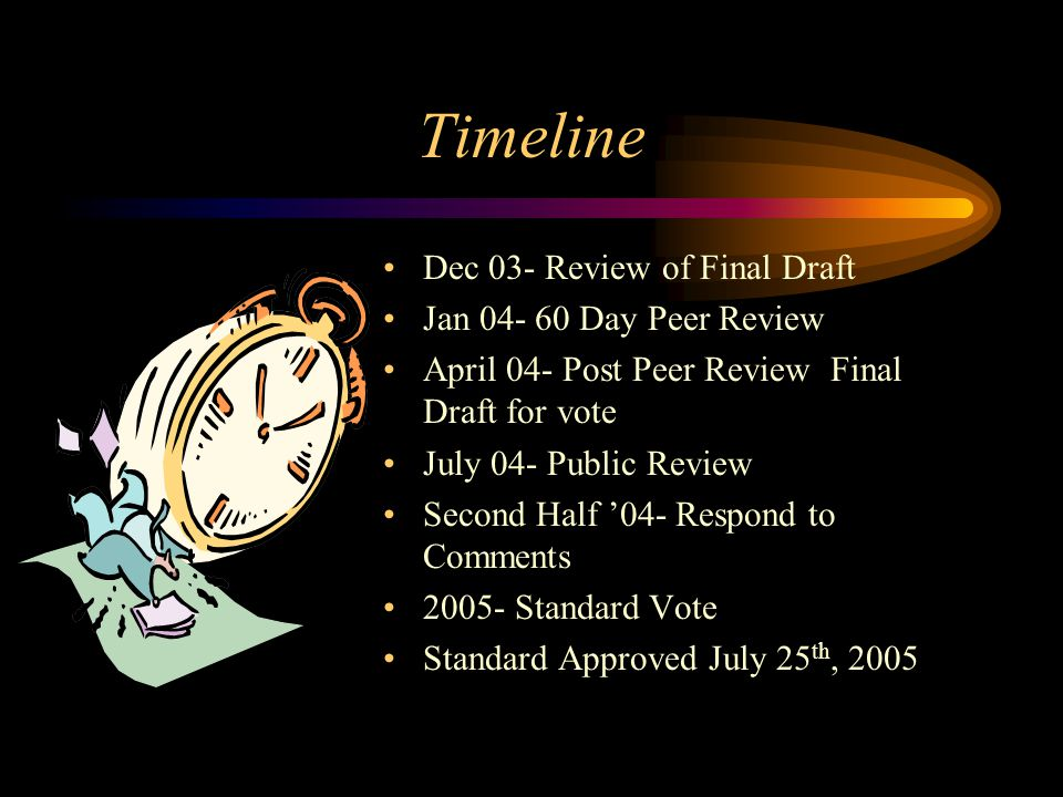 Timeline Dec 03- Review of Final Draft Jan 04- 60 Day Peer Review April 04- Post Peer Review Final Draft for vote July 04- Public Review Second Half 0
