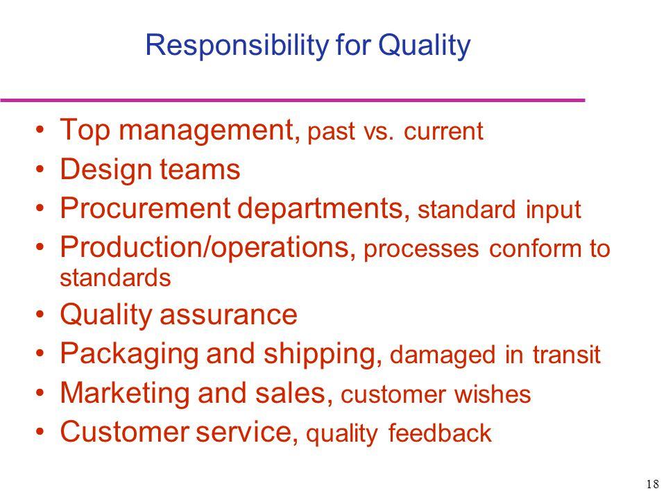 18 Top management, past vs. current Design teams Procurement departments, standard input Production/operations, processes conform to standards Quality
