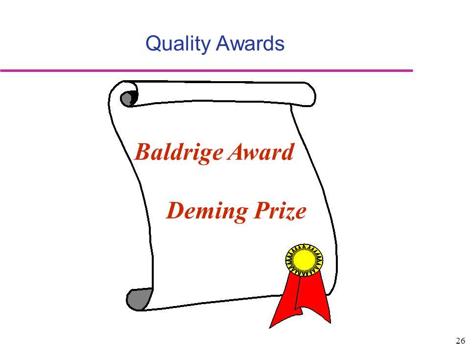 26 Quality Awards Baldrige Award Deming Prize