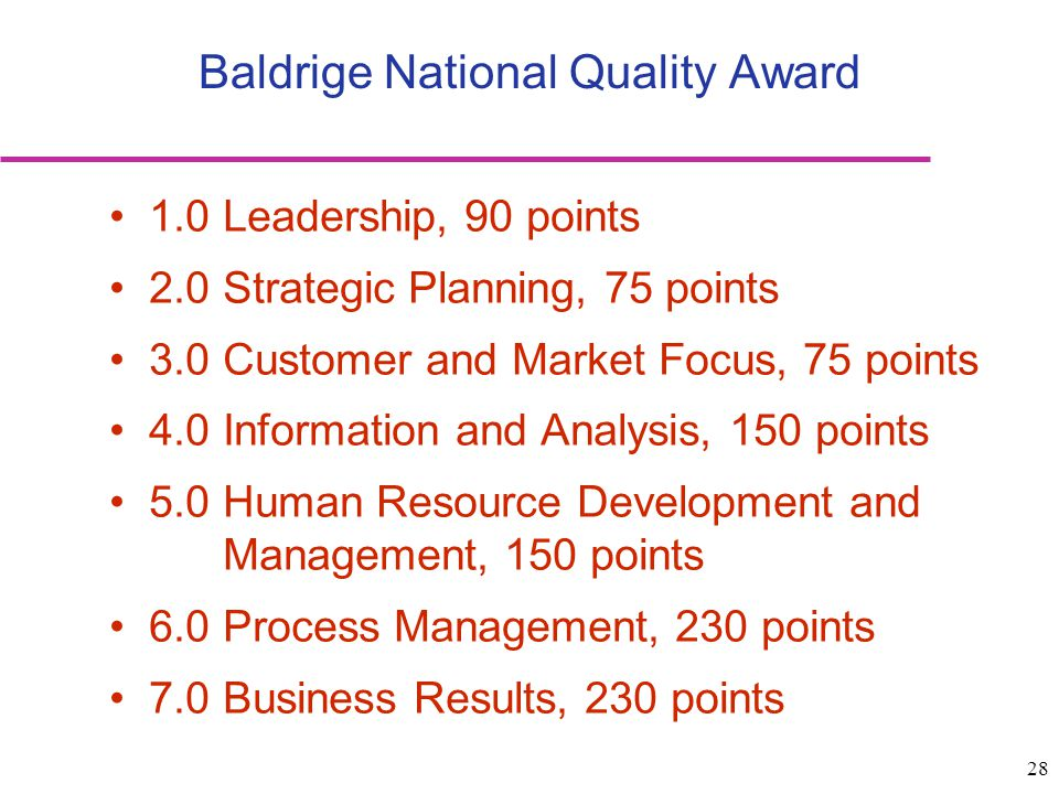 28 Baldrige National Quality Award 1.0 Leadership, 90 points 2.0 Strategic Planning, 75 points 3.0 Customer and Market Focus, 75 points 4.0 Informatio