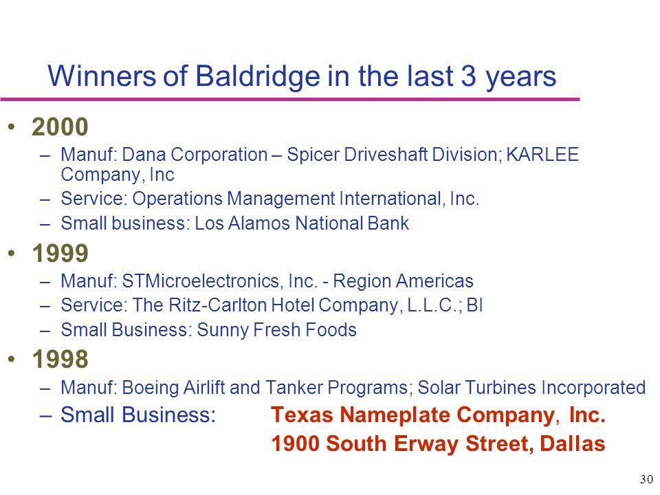 30 Winners of Baldridge in the last 3 years 2000 –Manuf: Dana Corporation – Spicer Driveshaft Division; KARLEE Company, Inc –Service: Operations Manag