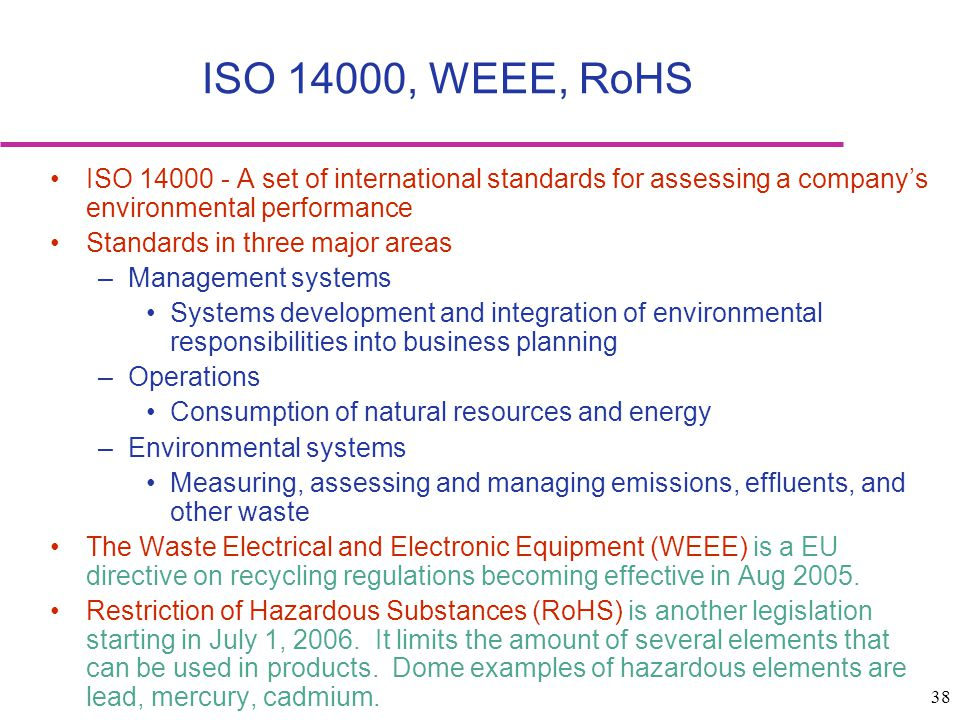 38 ISO 14000 - A set of international standards for assessing a companys environmental performance Standards in three major areas –Management systems